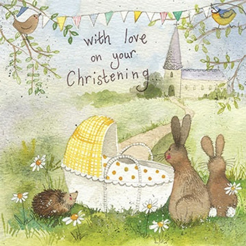 Bunny Rabbit Christening Day Card