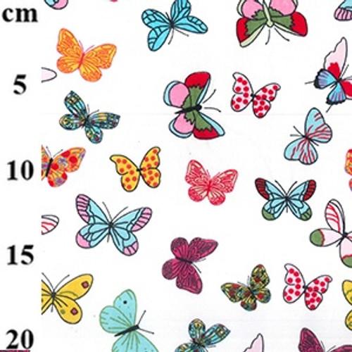 Bright Butterflies on Ivory 100% Cotton Poplin Fabric, 112cm/44in wide, Sold Per HALF Metre