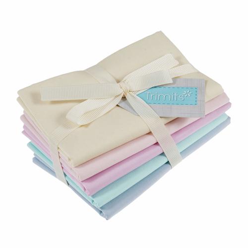 Pastel 100% Cotton Fat Quarter Fabric Bundle, 5 Pieces