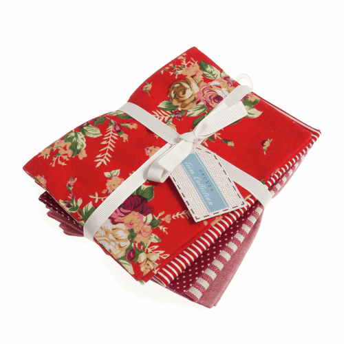"""Red"" Cotton/Linen Blend Fat Quarter Fabric Bundle, 5 Pieces"
