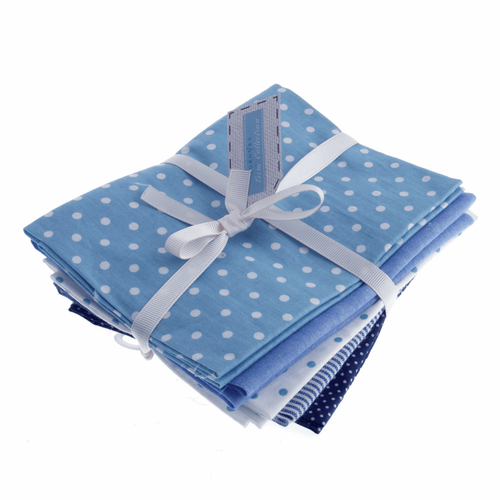 """Blues"" Cotton/Linen Blend Fat Quarter Fabric Bundle, 5 Pieces"