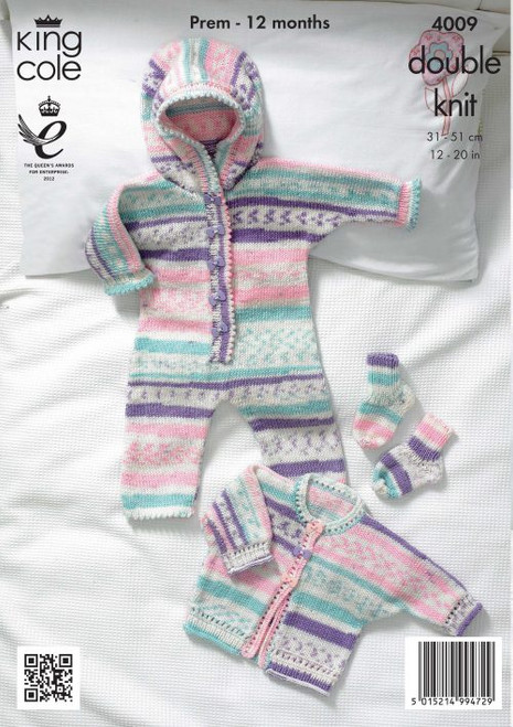 4009- All-In-One, Jacket and Socks Knitted with Double Knit - 31-51cm/12-20in