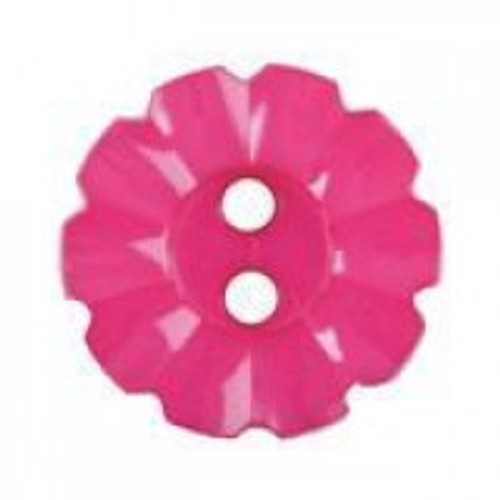 Cerise 2 Hole Fluted Edge Button - 15mm ( Sold Individual)