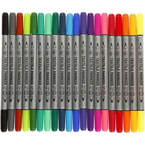 Textile Markers, line width: 2.3+3.6mm, standard colours, 20pcs