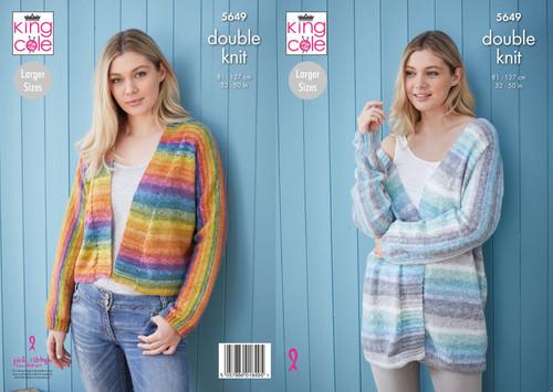 5649 - Ladies Cardigans knitted in Bramble DK - 81-127cm/32-50in