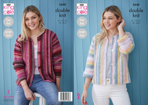 5648 - Cardigans  Knitted in Bramble DK - 81-127cm / 32-50in