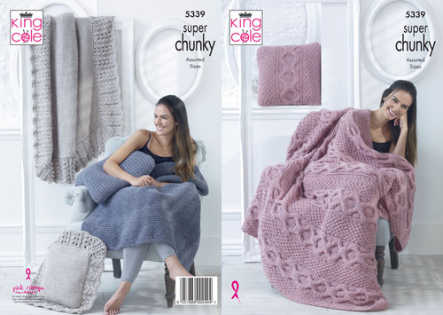 5339-Blankets & Cushions Knitted in Big Value Super Chunky - Assorted Sizes
