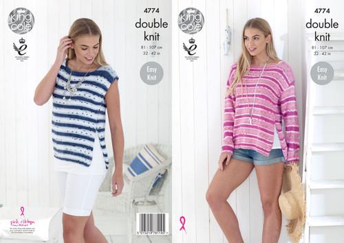 "4774 Ladies & Teens Sweater DK Knitting Pattern Size: 32-42"""