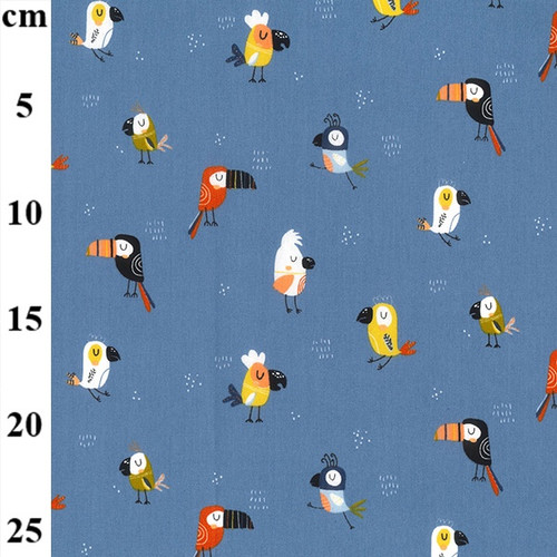 Cool Birds On Blue - 100% Cotton Fabric, 150cm/ 59in wide, Sold Per HALF Metre