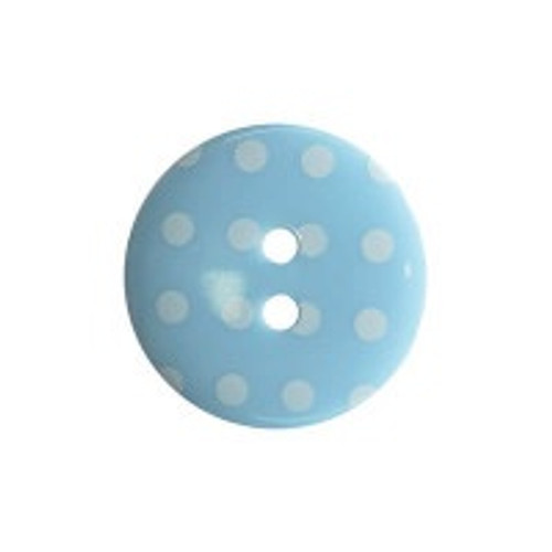Pale Blue & White Polka Dot Buttons, 18mm Diameter, Sold Individually