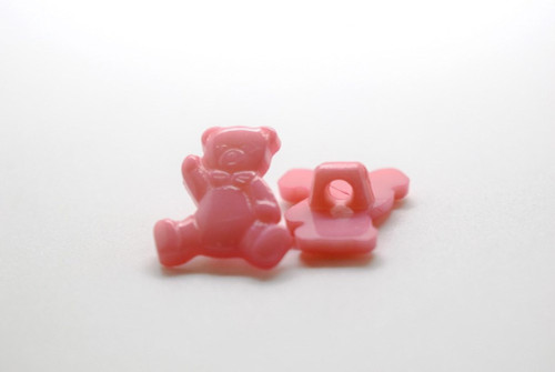 Pink Teddy Shank Button - 15mm - sold individual