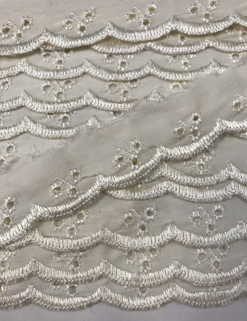 "Cream 1"" Flat Cherry Broderie Anglaise Lace - (Sold Per Metre)"