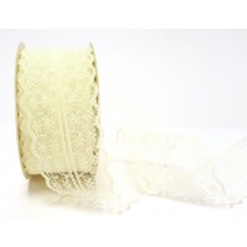 Bertie's Bows Ivory double sided Scalloped Edge Nylon Lace, 40mm wide (Sold Per Metre)