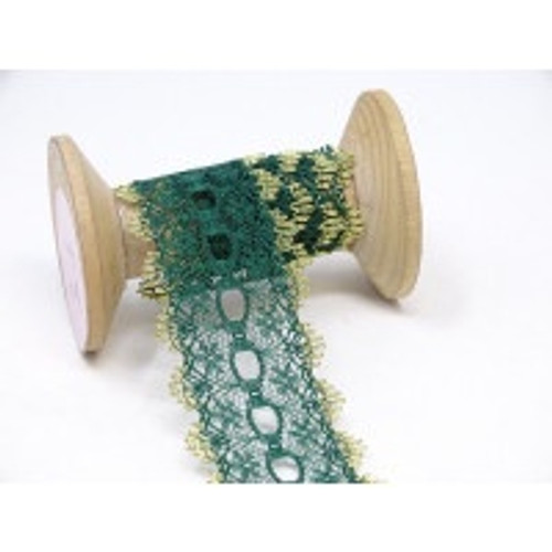 Bottle Green with Gold Edge Knitting-In Lace - 35mm ( Sold By the Metre)