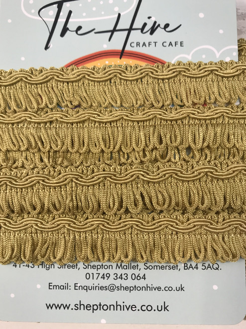 Antique Gold Fringing with Patterned edge  - 25m/1inch ( Sold By The Metre)