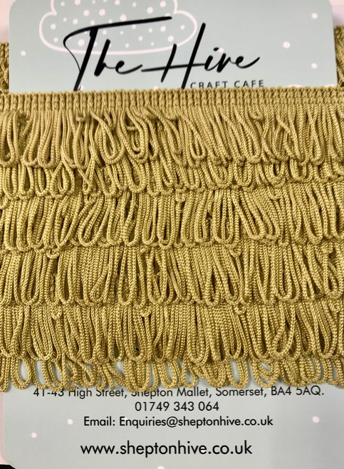 Antique Gold Fringing with Plain edge- 25m/1inch ( Sold By The Metre)