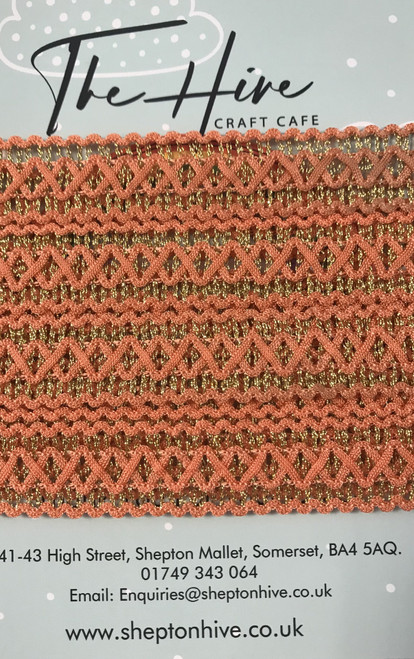 Paprika & Gold Braid - 20mm Width ( Sold By The Metre)