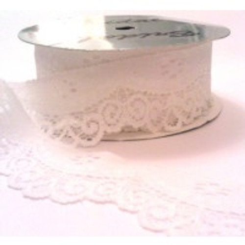 Ivory Scalloped Edge Stretch Lace  30mm width (sold per metre)