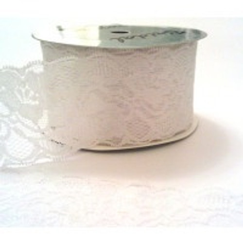 White Floral Scalloped Edge Stretch Lace 45mm (sold per metre)