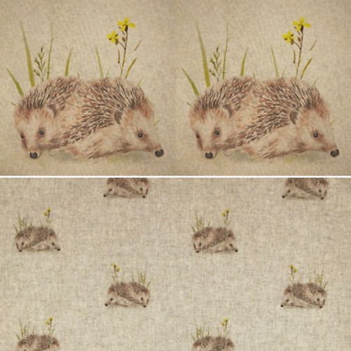 Hedgehog All Over Print Linen Blend - 140cm wide, Sold Per Half Metre