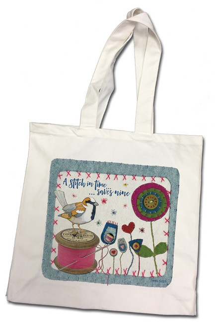 """""""A Stitch in Time"""" 100% Cotton Canvas Bag"""
