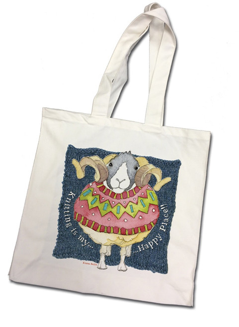"""""""Knitting is my Happy Place"""" 100% Cotton Canvas Bag"""