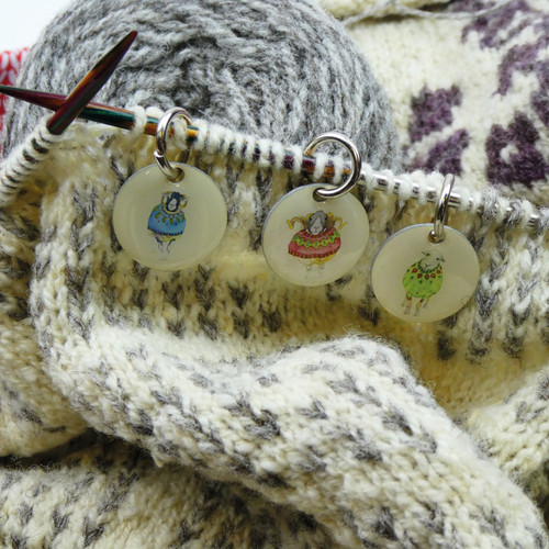 Sheep in Sweaters Stitch Markers, Set of 6