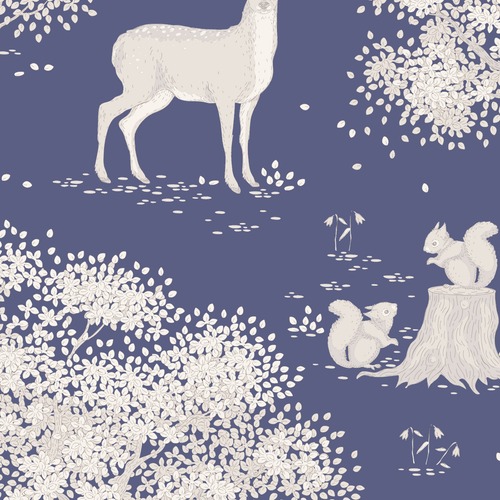 """Blue """"Woodland"""" Tilda Woodland Collection 100% Cotton Fabric, 110cm/44in wide, Sold Per HALF Metre"""
