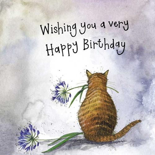 Sunshine Agapanthus Cat Birthday Card