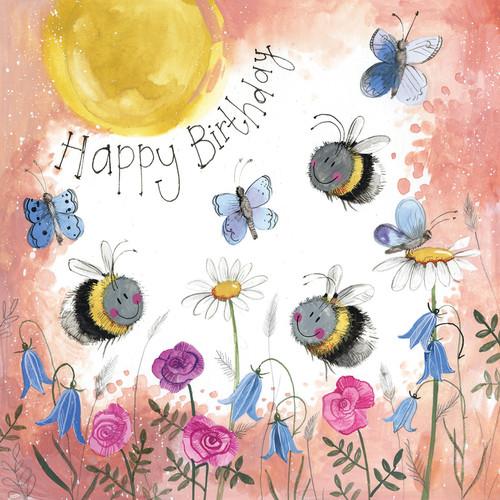 Sunshine Swarm Bee Birthday Card