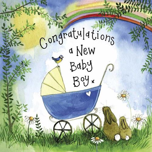 Sunshine Blue Pram Baby Card
