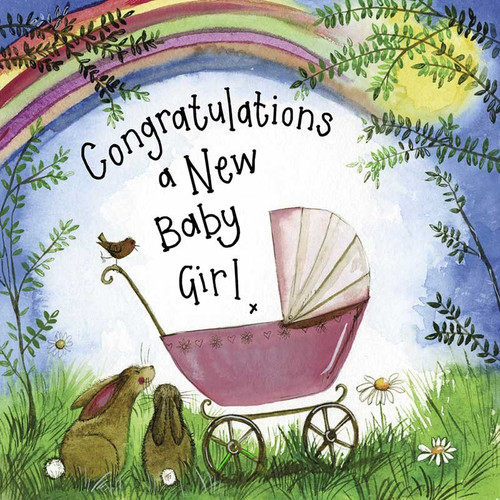 Sunshine Pink Pram Baby Card