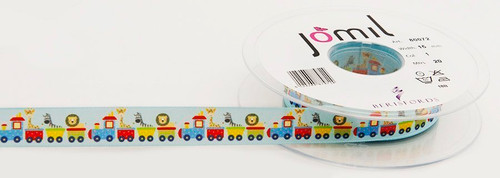 Toy Train on Light Blue Ribbon, 15mm wide, Sold Per Metre
