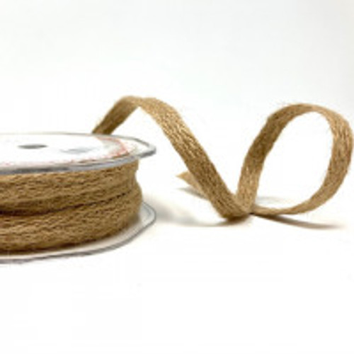 Natural 12mm Natural Woven Hessian Ribbon ( Sold by the Metre