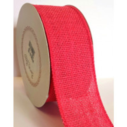 Watermelon 50mm Burlap with Wired Edge Sold By The Metre)