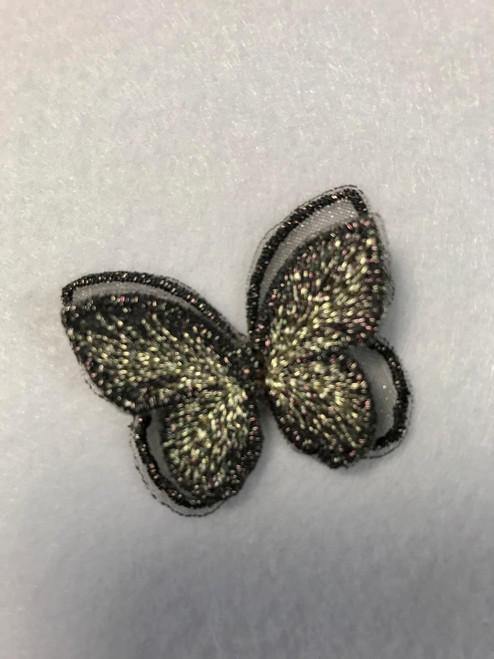 Black & Gold Butterfly Iron-on Sew-on Applique Motif