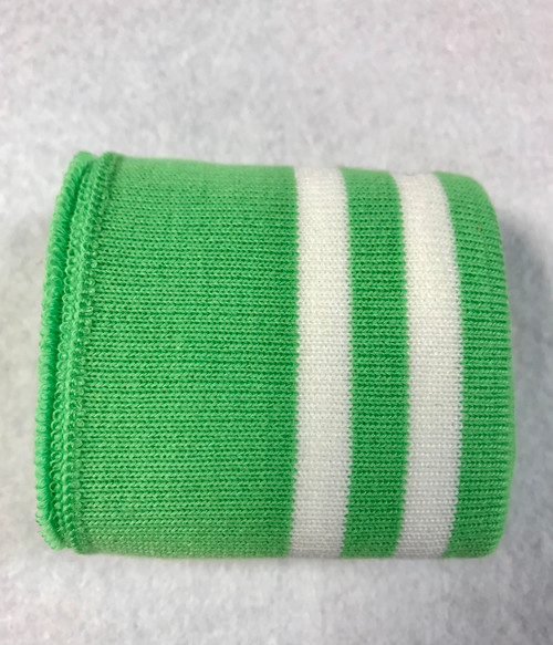 Apple Green with Twin White Stripes Knitted Tube Cuff Ribbing (approx 180cm length)