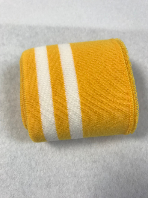 Bright Yellow with Twin White Stripes Knitted Tube Cuff Ribbing (approx 180cm length)