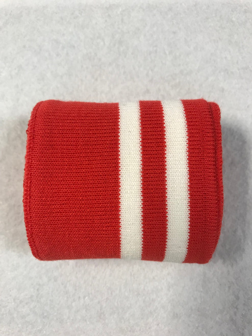 Red with Twin White Stripes Knitted Tube Cuff Ribbing (approx 180cm length)