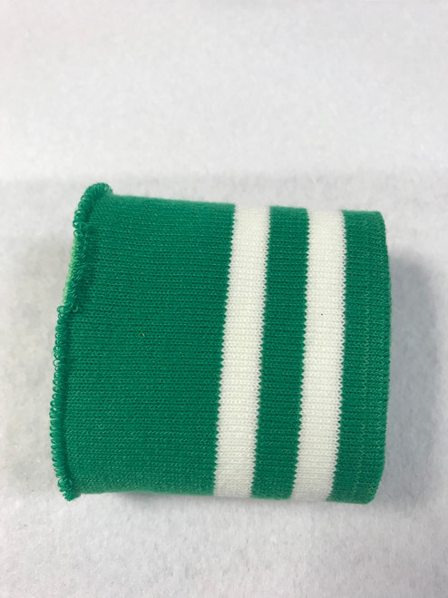 Forest Green with Twin White Stripes Knitted Tube Cuff Ribbing (approx 180cm length)
