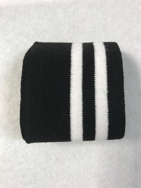 Black with Twin White Stripes Knitted Tube Cuff Ribbing (approx 180cm length)