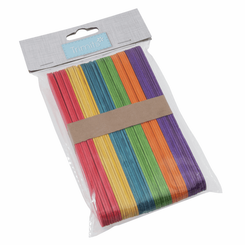 Lollypop Sticks - Wooden Large (150 x 18 x 1.6mm) Multi Coloured  Pack of 50