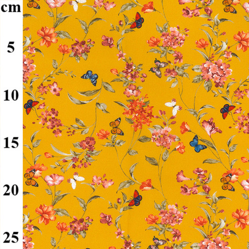 Flower Garden Butterflies on Ochre - 100% Cotton Fabric, 150cm/60in wide, Sold Per HALF Metre