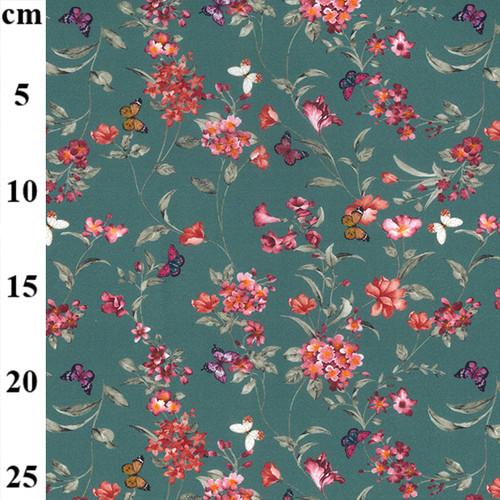 Flower Garden Butterflies on Teal - 100% Cotton Fabric,  150cm/60in wide, Sold Per HALF Metre