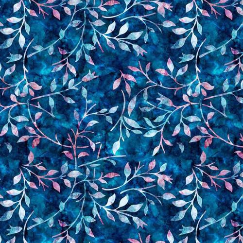 Ocean Blues & Pinks Leaf Trail Batik-style 100% Cotton Fabric, 140cm/55in wide (Sold Per HALF Metre)