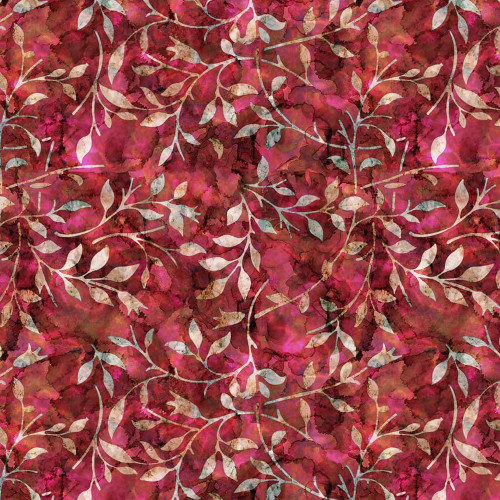Pinks & Reds Leaf Trail Batik-style 100% Cotton Fabric, 140cm/55in wide (Sold Per HALF Metre)