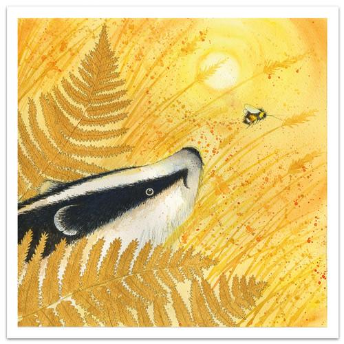 Golden Badger Greetings Card