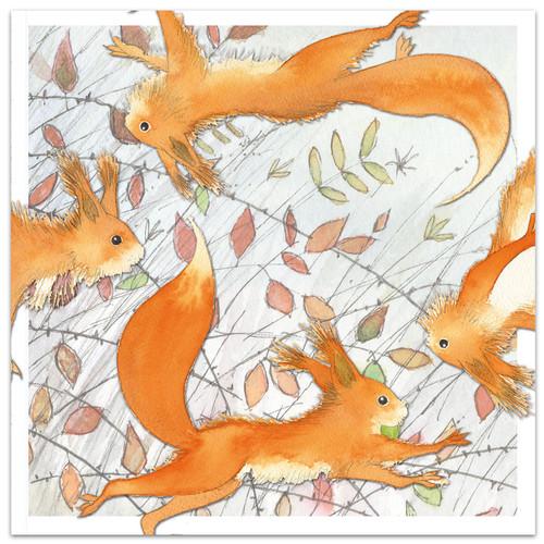 Dancing Squirrels Greetings Card