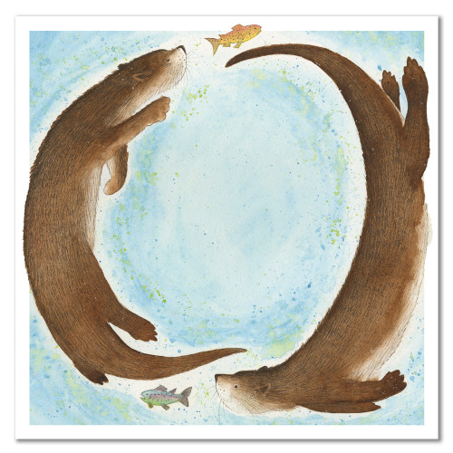 Frolicking Otters Greetings Card