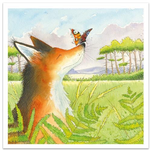 Fox & Butterfly Greetings Card